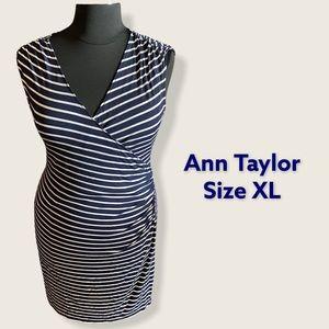Ann Taylor Wrap Style Dress Ruching Sz XL